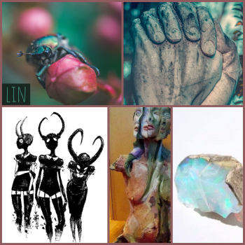 lin moodboard: a scarab beetle on a flower, a sculpture of clasped hands, a drawing of three shadowy horned women, a sculpture of a woman's face and body splitting open, a fragment of milk opal