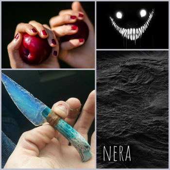 nera moodboard: dark water, a creepy grinning face with too many teeth, hands with red nail polish, a tiny opal knife